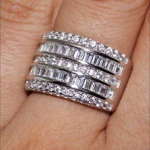 Jewelry - 1 LEFT! 925 Stamped/White Sapphire Layer Cake Ring
